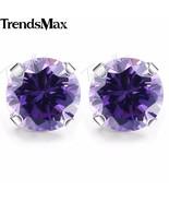 Round Cut Purple CZ Stud Earrings for Women  Silver Color Earrings Women... - $17.34