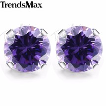 Round Cut Purple CZ Stud Earrings for Women  Silver Color Earrings Women... - $17.34