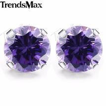 Round Cut Purple CZ Stud Earrings for Women  Silver Color Earrings Women... - £13.85 GBP