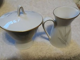 Rosenthal Sugar Bowl and Creamer modern subdued floral on white with gil... - $36.00