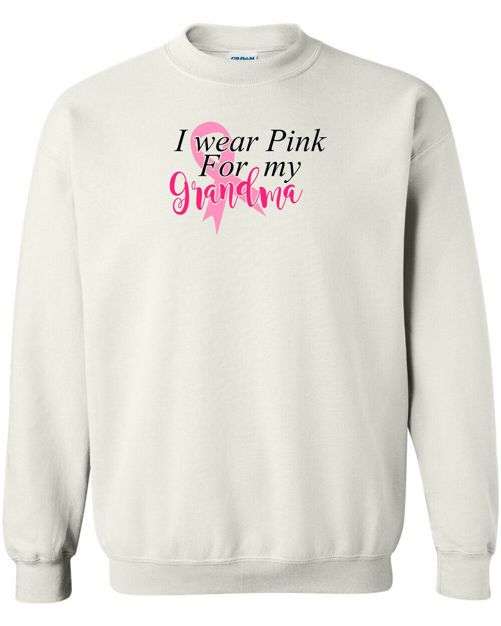 Primary image for I Wear Pink For My Grandma Breast Cancer Awareness Crewneck Sweatshirt New White