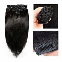 Friskylov 18 Inch Black Hair Extensions Clip in Human Hair 120g Brazilian Virgin image 2