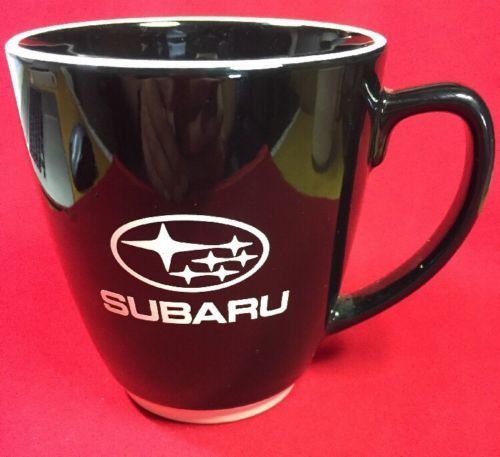 Primary image for Large Subaru Ceramic Coffee Mug Black With White Rim White Base