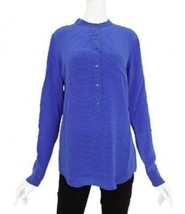 NWT EQUIPMENT Femme Ava Nautical Blue Stripe L/S Silk Top Blouse $248 Si... - $74.99