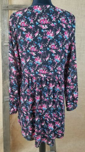Forever 21 women small peasant long sleeve high waist dress floral lined image 4