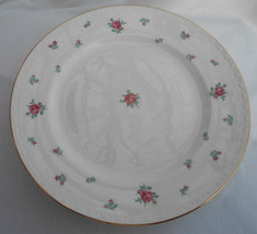 "Homer Laughlin Rambler Rose Dinner Plates 4 Rare Pink Roses Gold 10"" - $42.07"