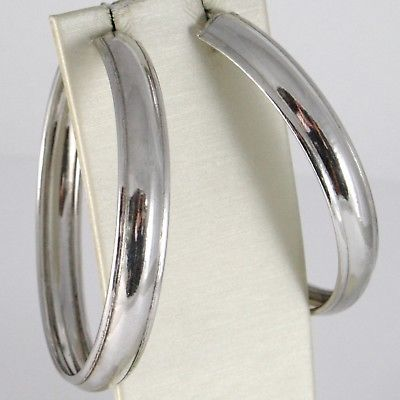 SOLID 925 STERLING SILVER PENDANT EARRINGS BIG CIRCLE HOOPS, 6 CM, 2.36 INCHES