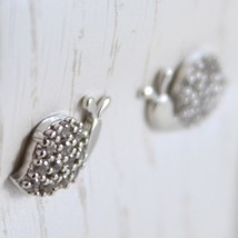 White Gold Earrings 750 18K for Girl, Slug, Snail, Long 0.7 cm, Zircon image 2