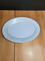 Noritake Dearest China 12 Inch Serving Platter White & Brown Floral Trim... - $13.81