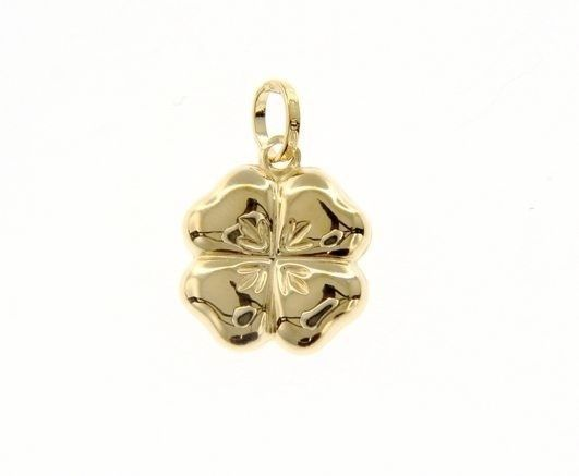 18K YELLOW GOLD ROUNDED FOUR LEAF PENDANT CHARM 22 MM SMOOTH MADE IN ITALY