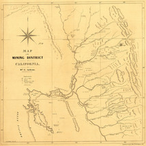 1850 Map California Gold Mining District Mines Fields Wall Poster Vintag... - $12.38
