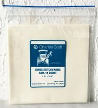 "Charles Craft 14 Count Ivory Aida Cross Stitch Fabric 100% Cotton - 12"" ... - $4.70"