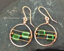 Handmade copper earrings: circles wire wrapped with square green glass b... - $25.00