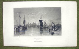 GERMANY Cologne View from Rhine River Boats - 1840s Antique Print Engraving - $11.10