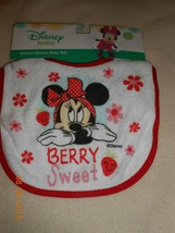New Disney Minnie Mouse Baby Toddler Bib Berry Sweet FREE SHIP - $5.45