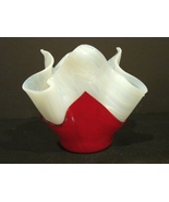 Dale Navis  Stunning Red and White Handkerchief Vase Studio Art Glass  - $14.99