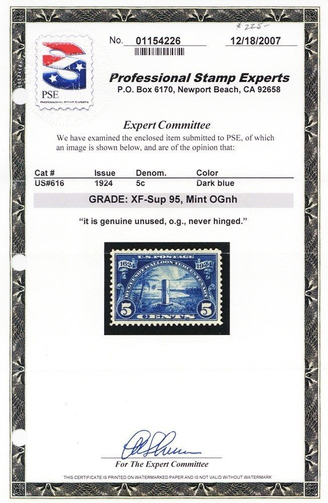 616, Mint XF/Superb NH GEM With PSE Graded 95 Certificate - Stuart Katz
