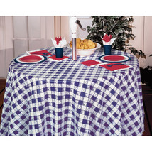 Blue Gingham 82 inch Octy/Round Plastic Tablecover/Case of 12 - ₨6,133.65 INR