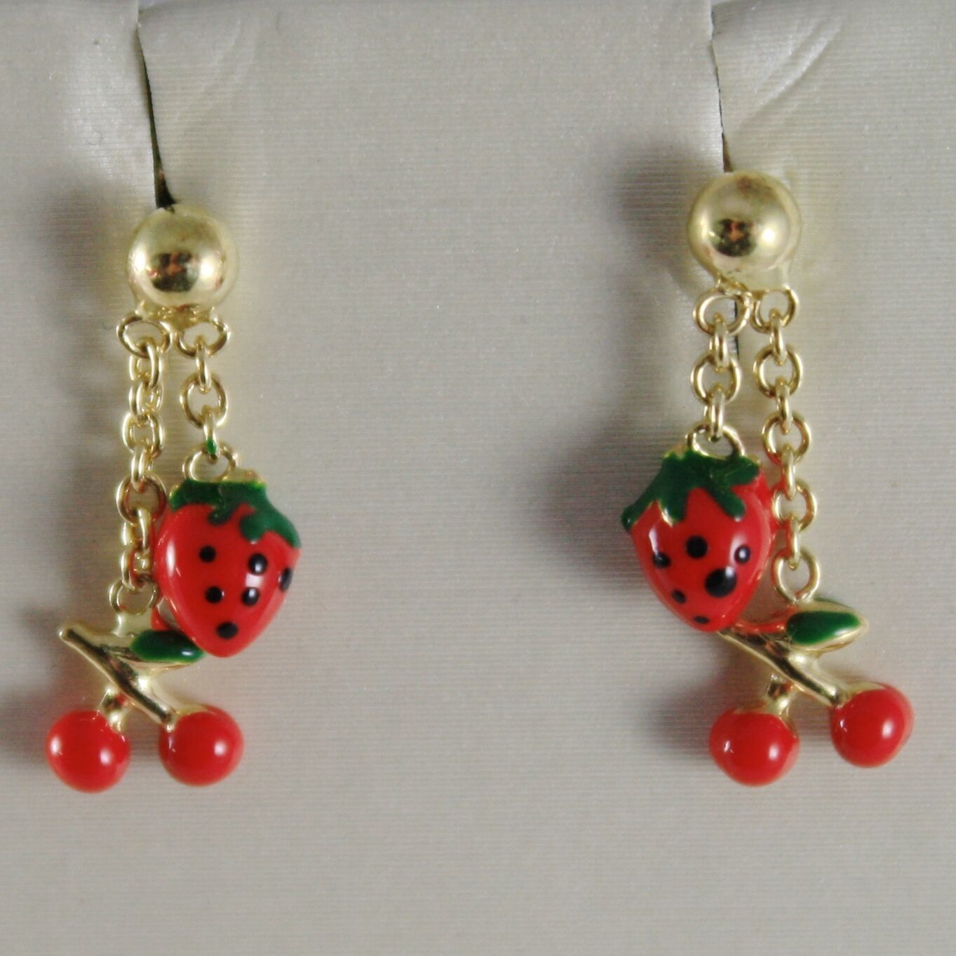 18K YELLOW GOLD PENDANT KIDS EARRINGS GLAZED CHERRY STRAWBERRY MADE IN ITALY