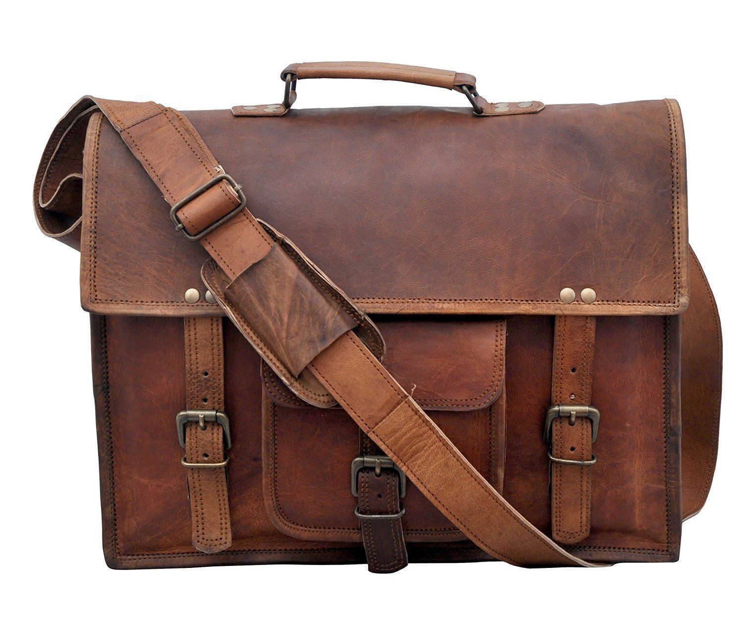 """New 15"""" 100% Pure Rustic Soft Leather Messenger Shoulder Laptop Briefcase Bags"""