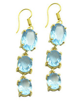 Blue Gold Plated Glass comely Blue topaz CZ gemstones Earring UK gift - $22.39