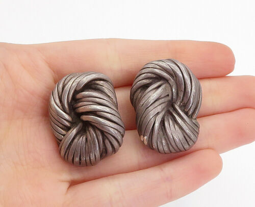 Primary image for AIRESS 925 Silver - Vintage Knot Twist Non Pierce Clip On Earrings - E9327