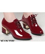 woman 5 cm block heel lace-up pump, genuine leather, size 4-10.5, burgundy - $52.80