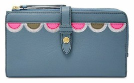 Fossil NWT Indigo Blue Wallet Clutch Padded Fiona Tab Snap Large Leather - $39.47