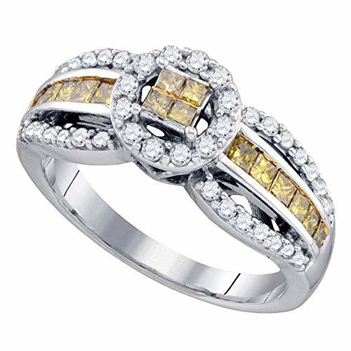 Primary image for The Diamond Deal 14kt White Gold Womens Princess Yellow Color Enhanced Diamond C