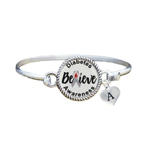 Custom Diabetes Awareness Believe Silver Bracelet Jewelry Choose Initial... - $13.80+