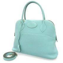 HERMES Bolide 31 Taurillon Clemence Blue Atoll 2Way Handbag France #T - $6,398.10
