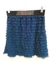 Candies Sz Small Womens Skirt Teal Blue Ruffed Layered Short Mini  A-Lin... - $9.99