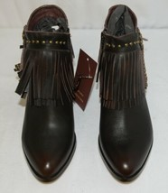 Lucky And Blessed SH 11 Dark Brown Leather Boots Fringe Metal Studs Size 7 image 2