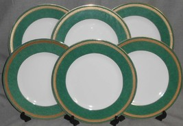 Set (6) PTS International Interiors MADISON EMERALD PATTERN Dinner Plates - $79.19