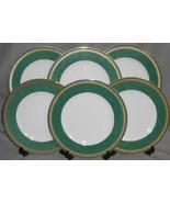 Set (6) PTS International Interiors MADISON EMERALD PATTERN Dinner Plates - $79.19
