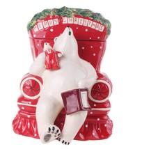 """Blue Sky Clayworks Merry Christmas Sleeping Polar Bear Cookie Jar 12"""" H - $59.40"""