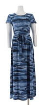 H Halston Printed Jet Set Jersey Maxi Dress Blue XXS NEW A306908 - $42.55