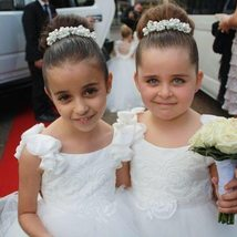 White Wedding Flower Girls Dresses Cute Tull Kids Gowns 2018 Pearls Child Dress image 2