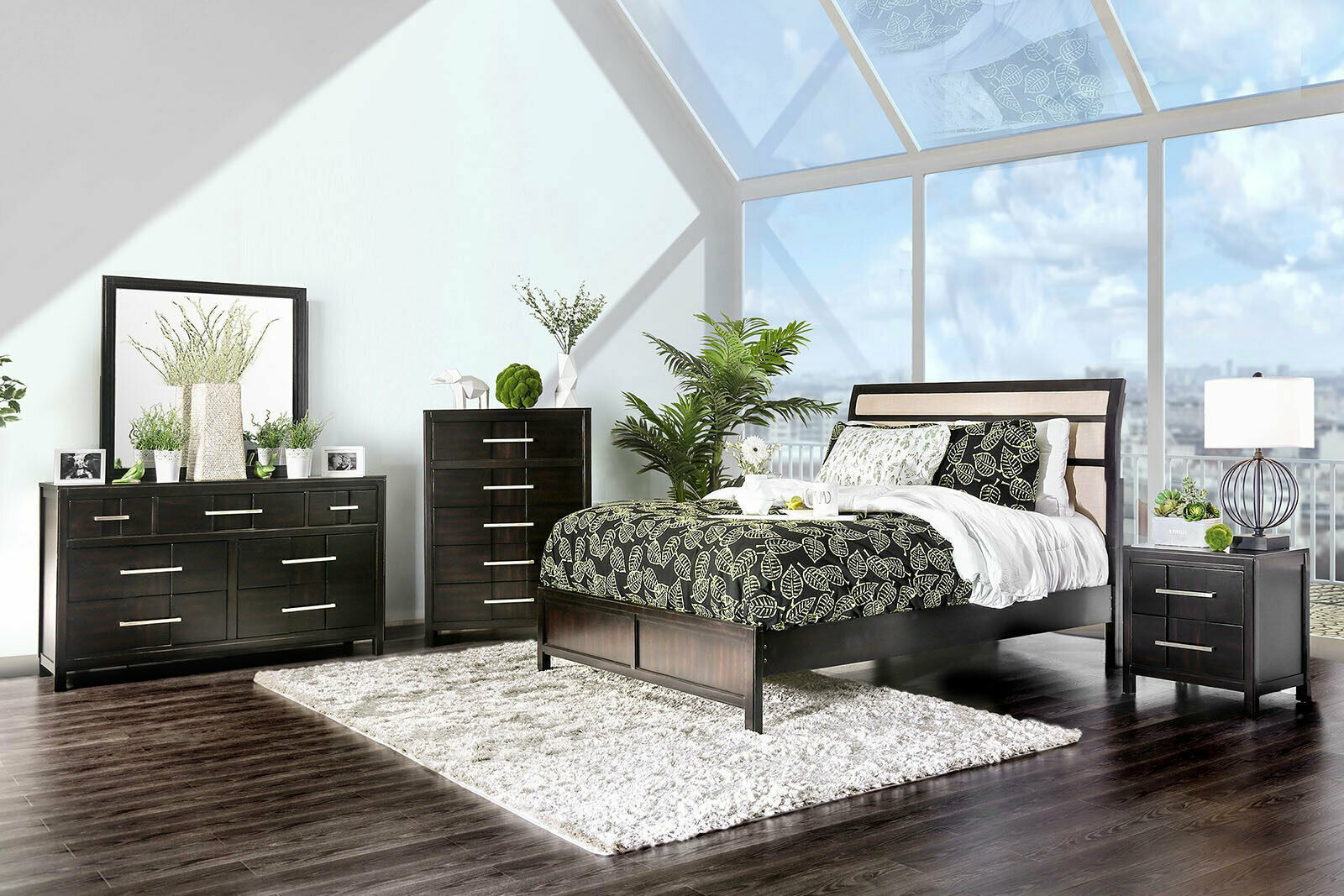 Morton 5 pieces transitional espresso brown bedroom suite - Espresso brown bedroom furniture ...