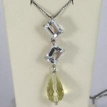 Halskette Weißgold 750 - 18K Aquamarin Schnitt Smaragd und Quarz Lemon Tropf image 2