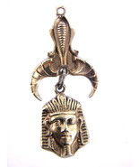 "VINTAGE  KING TUT ""ART"" EGYPTIAN REVIVAL PHARAOH DROP PENDANT GOLD FINISH - $64.79"