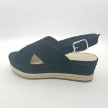 Marc Fisher Womens Espadrilles Platform Sandals Black Leather Ankle Strap 7 M - $39.59