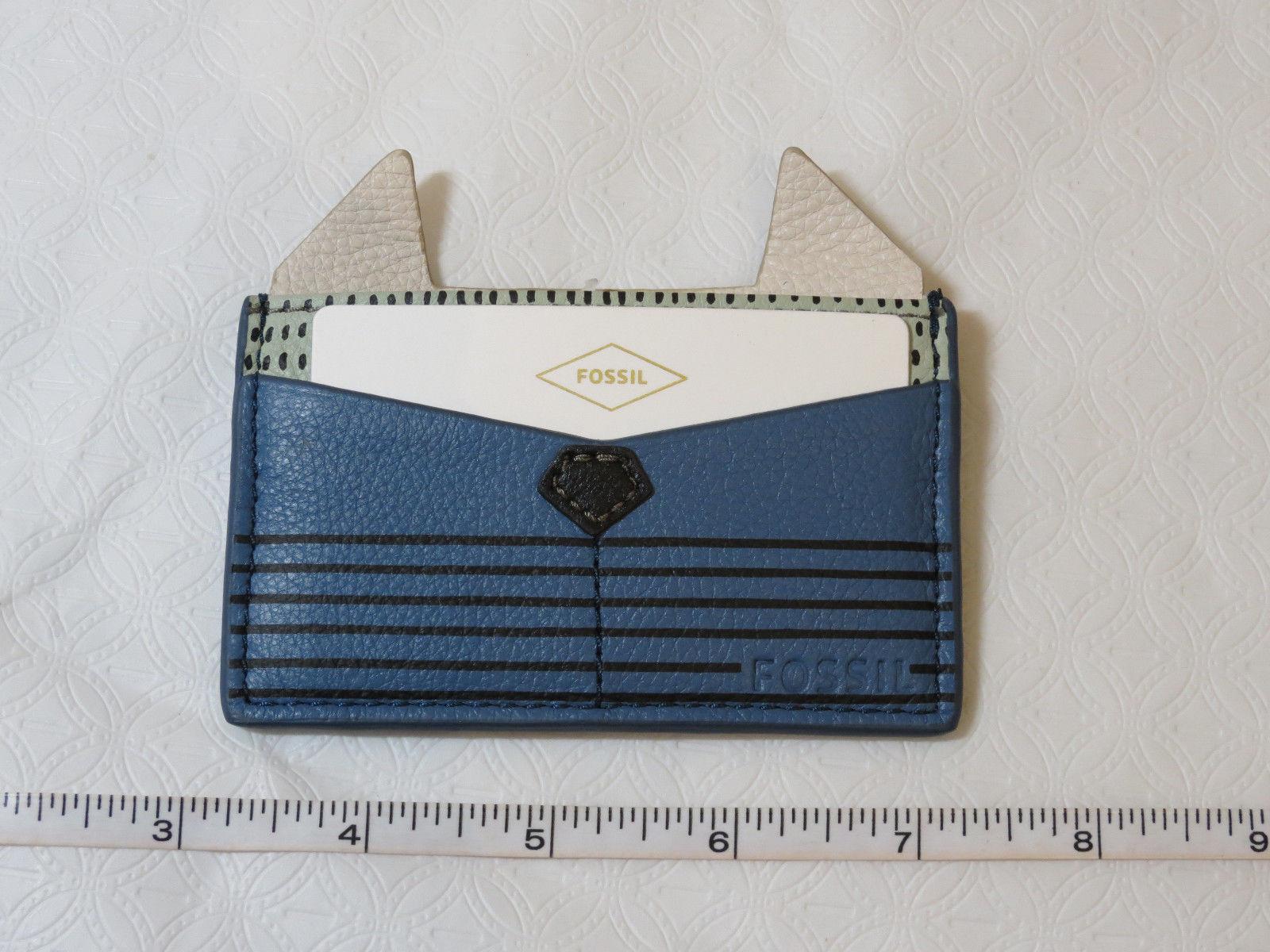 Fossil SL7424484 Card Case PL Cornflower Leather mini ID holder blue green NWT*^
