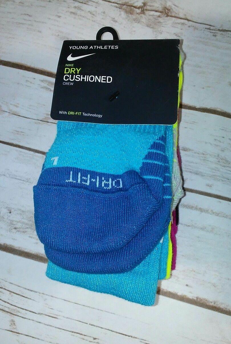 Nike Youth Young Athletes Dry Cushioned Crew Socks 3 Pack DRI-FIT 3y-5y or 5y-7y