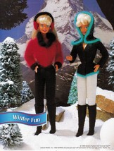 "4X Barbie 11-1/2"" Doll Winter Jog Ski Jacket Hat Boot Scarf Crochet Pattern image 2"