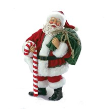 "Kurt Adler 10"" Fabriché Santa Holding Bag Candy Cane Christmas Table Decor - £53.86 GBP"