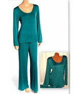 Stretch Plus Pajama Set Long Sleeve Long Pants XL Green 069 - $28.99