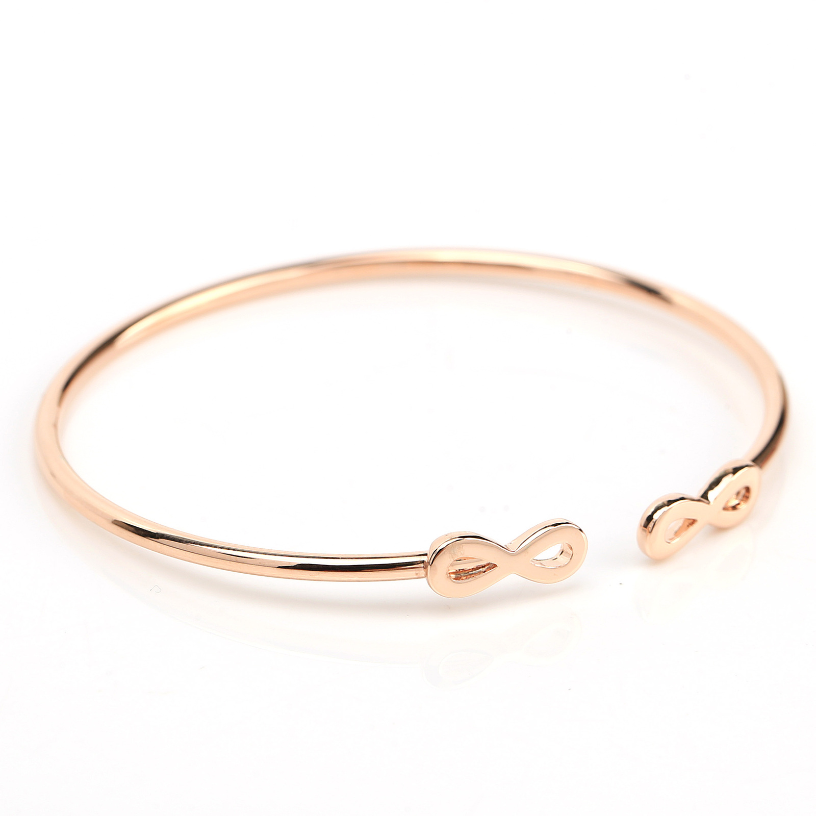UE- Stylish Rose Tone Designer Bangle Bracelet With Contemporary Infinity Design