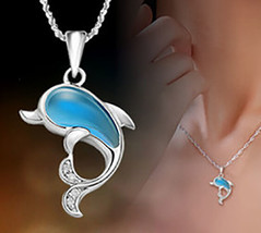 925 sterling silver Dolphin Pendant dolphin type opal pendant necklace [... - $13.86