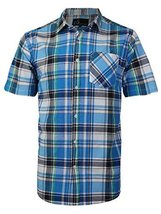 vkwear Men's Plaid Checkered Button Down Casual Short Sleeve Dress Shirt (Medium
